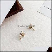 Jewelryorigin Summer Exquisite Vintage Flower Simation Pearl Stud Earrings For Women Ladies Red Green Crystal Earring Jewellery Drop Deliver