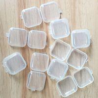 DIY Square Leere Mini Klare Kunststoff-Speicher-Container-Kasten-Hülle mit Deckel Schmuck-Ohrstöpsel Aufbewahrungsboxen