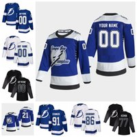 Retro retro Tampa Bay Lightning Hockey 88 Andrei Vasilevskiy Jersey 21 Brayden Point 91 Steven Stamkos 77 Victor Hedman 86 Nikita Kucherov Black Blue Blanco