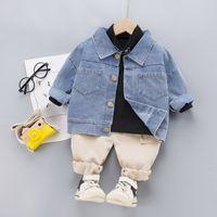 Autumn Childrens Clothing Baby Boys Girls Letter Printing Denim Jacket + Cotton Bottoming Shirt + Cargo Pants 3Pcs Set 210506
