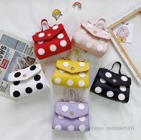 Luxury kids polka dots handbags girls metals chain crossbody bag children princess accessories purse women mini one-shoulder bags wallet Q0197