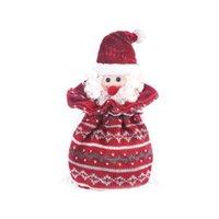 Christmas Decorations Santa Claus Drawstring Gift Treat Bag Candy Wool Knitting Stripes Design Goodie Pocket Presents Stocking