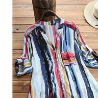 Chemises femmes coton été gypsy gypsy boucherie tonquée chemise à manches longues blouse plus taille de lot de lot coloré vides lâches