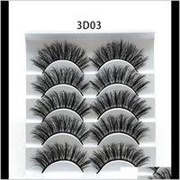 Eyes Health Drop Entrega 2021 5Pairs Faux 3D Mink Falso Pestañas Natural Grueso Ojo Largo Pastañas Eyelash Extensión Wispy Makeup Beauty Herramienta