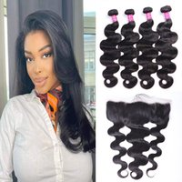 10A Remy Hair Bundles Weaves Body Wave 4PCS with Frontal 13x4 Ear to Ear Hair Extensions Brazilian Indian Peruvian Hair Weft Extensions 4 Bundles