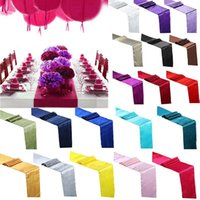 Party Decoration 1PC Satin Table Runner 30x275cm Flag For Home Wedding Christmas Festival 18 Colors