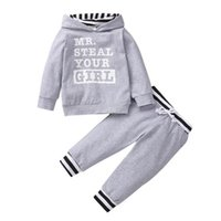 Boys Clothing Sets Boy Suit Children Tracksuit Kids Wear Spring Autumn Letter Long-Sleeved Hoodie Tops Pants Trousers 2Pcs Suits B7481