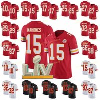 Patch Football 15 Patrick Mahomes Jersey 10 Tyreek Hill 87 Travis Kelce 25 CLlyde Edwards-Helaire 55 Frank Clark 95 Chris Jones Vermelho Branco