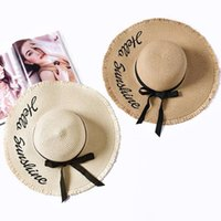 Wide Brim Hats Embroidery Summer Straw Hat Women Sun Protection Beach 2021 Adjustable Floppy Foldable For Ladies