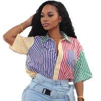 Womens polos ladies summer shirts fashion multicolor striped printed shirt blouse women's clothing