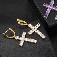 Luxury Designer Jewelry Women Earrings Hip Hop Jewlery Men Earings Iced Out Diamond Cross Hoop orecchini firmati des boucles d'oreilles New