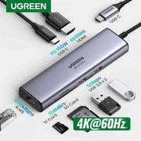 Ugreen Usb C Hub 4K 60Hz Type C to Hdmi 2.0 RJ45 Usb 3.0 Pd 100W Adapter for Macbook Air Pro Ipad Pro M1 Pc Accessories Usb Hub_S01
