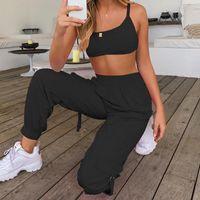 Летние женщины спортивные две части наборы сплошные цветные кружевные вершины повседневные эластичные талии карманные фонарики брюки брюки большого размера женские трексуиты
