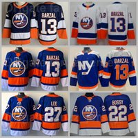 New York Islanders Ice Hockey 13 Mathew Barzal Jersey 22 Mike Bossy 27 Anders Lee Blank Stadium Series All Stitched Home Blue White