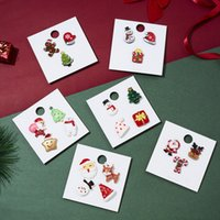 Hot Selling Christmas Series Santa Crutch Elk Acrylic brooch With Paper Card Brooches Set Wholesale