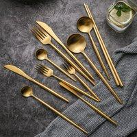 Dinnerware Sets 304 Stainless Steel Gold Cutlery Set Dinner Fork Knife Spoon Chopsticks Silverware Tableware