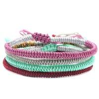 Цвета этнических ручной работы DIY веревочка браслет мода тибетский буддийский молитвенный узел Узел счастливые браслеты женщин мужские плетеные бисеры, пряди