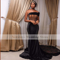 One Shoulder Black African Mermaid Prom Dress 2021 Exposed Boning Evening Party Gown For Women Vestido De Fiesta