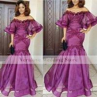 Off Shoulder Prom Dress Mermaid 2021 Purple Applique robe de soirée femme vestidos de noite Formal Party Wear
