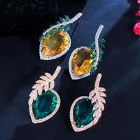 Dangle Kroonluchter Unieke Designer Blad Feather Groen Geel Groot Water Drop Cubic Zirconia Oorbellen voor vrouwen Huwelijkstoebehoren