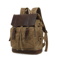 Backpack Fashion Men's Vintage Canvas School Bag Travel Bags Large Capacity Laptop