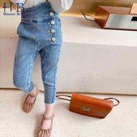 Юмор медведь девушки длинные брюки осень новое поступление девушки мода джинсовые брюки повседневные джинсы модные брюки детские джинсы для 2-6Y 210331
