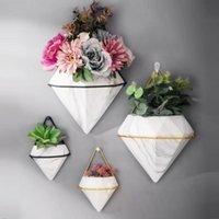 Vases Nordic Luxury White Ceramic Wall Hanging Vase Flowerpot Modern Punch Free Flower Pot Living Room Decoration Household