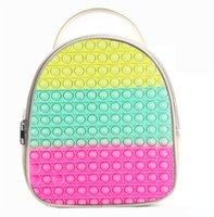 2021 Toy Backpack Rainbow Tie Dye Sensory Push Pop Bubbles Bag Purses Kids Adult Shoulder Bags Silicone Handbag-TOPN878