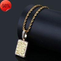 Hip hop men's gold bullion Rectangular Pendant with zircon trendsetter Necklace