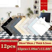 Wall Stickers 12pcs Self Adhesive Tiles Floor Marble Grain Sticker Bathroom Ground Wallpaper PVC Kitchen Furniture