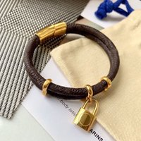Lock Bracelets Gold Bracelet Fine Jewelry Leather Love Mens Pendants Chain Link Old Flower Fashion Vintage Brands High Quality 2105085SX