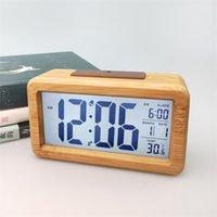 Hölzerner digitaler Wecker, Sensor Nachtlicht mit Snooze Datum Temperatur Uhr LED Watch-Tabelle Wanduhren DDA5497