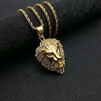HIP HOP Bijoux Titanium Acier Color Protection Plaqué Or Diamant Pendentif Head Collier