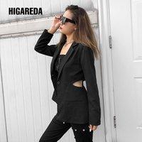 Harajuku Casual Black Blazer Cut Out Long Sleeve Suit Jacket Ladies Skinny Streetwear Coat Women Pocket Autumn Winter Women's Suits & Blazer