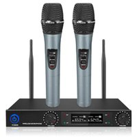 Microphones Wireless Microphone Mic Handheld 30M Receive UHF 2 Channels System Dynamic Professional For Party Karaoke Stage