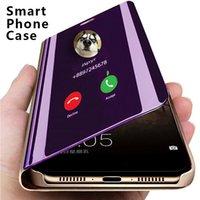 Casos de telefone espelho inteligente de luxo para iphone 11 12 pro máx 8 7 6 6 s mais xr xs x se samsung s20 s21 s30 a21 A31 A41 A51A71 suporte flip capa protetora