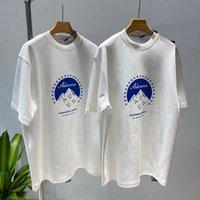 Chao ADER21 Verano Nuevo manga corta Br Coreano Snow Mountain Tierra Impresa por hombres Camiseta para mujer y suelto Roun