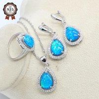 Blauwe natuurlijke opaal zilveren kleur sieraden set voor vrouwen oorbellen ketting hanger ring verjaardagscadeau