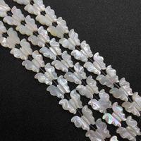 Kelebek şekli doğal deniz 16x18mm beyaz kabuk boncuk anne-inci moda kolye küpe takı aksesuarları