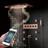 Sistema doccia di musica in oro rosa di lusso Sistema doccia con soffione a LED rubinetti da bagno Set di pioggia Brass Ottone termostatico Miscelatore per il bagno tacchino da bagno