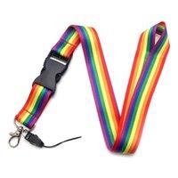 Bunte lesbische Gay Pride LGBT Rainbow Lanyards Keychain Handy Hängende Seil ID Abzeichenhalter Gurtband-Halbgurte Keycord Schlüsselanhänger