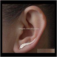 스터드 쥬얼리 드롭 배달 2021 여성을위한 Cler Earrings : 잎 귀 등산부 커프 귀걸이 깃털 스터드 DW1MB