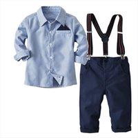2 7t meninos pcs roupas conjunto para crianças traje listrado outono mangas compridas camisa crianças suspender calças