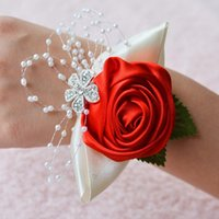 Artificial Flower Wrist Brooch For Wedding Party Bridal Prom Corsage Bridesmaid Sisters Decorative Flowers & Wreaths