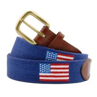 Traditional handmade American flag leather needlepoint golf belt navy blue hand stitched strap belt