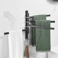 9Multi Style Rotatable Towel Rack And Luxurious Hanging Household Multi Scene Space Aluminum Non Perforated Black Shelf On Wind Wall