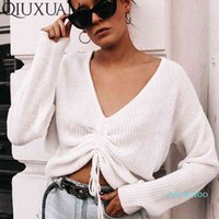 Fashion-Qiuxuan Sexy Deep V Drawstring Pleated Sweaters Women Knitted Long Sleeve Pullover 2019 Autumn Winter Casual Loose Woman Jumper