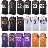 Baskılı Basketbol Forması Kent Kazandı Edition Deandre Ayton 22 Devin Booker 1 Mikal Bridges 25 Chris Paul 3 Cameron Johnson 23 Siyah Turuncu