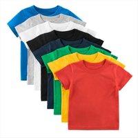 Inpepnow verano manga corta niñas tops sólidos niños camiseta para niños 100% algodón ropa de niños Camisetas DX002