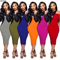 Casual Dresses Women Faux Leather One Shoulder Patchwork O-neck Bodycon Bandage Skinny Pencil Knee Length Midi Dress Vestidos S-3XL WY6532
